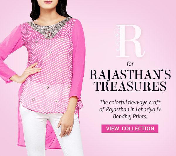 Rajasthan's legacy of Leheriya & Bandhej prints in all attires. Shop!