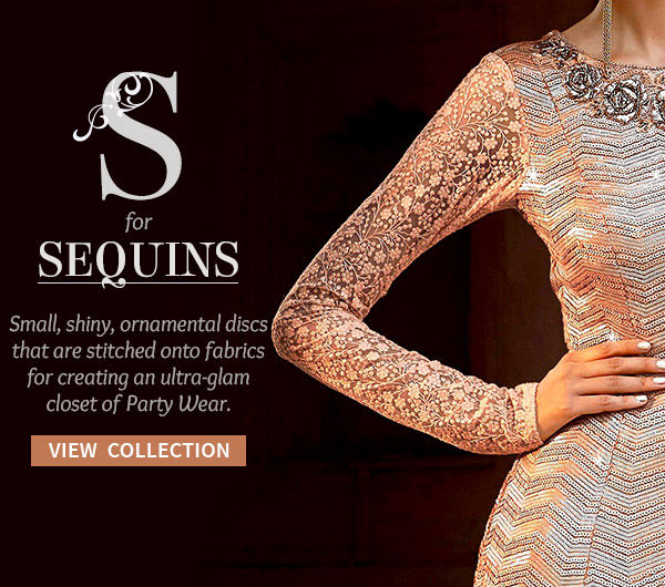 Sequined Party Wear of Sarees, Salwar Kameez & Lehengas. Shop!