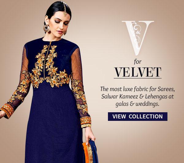 Velvet Sarees, Salwar Kameez & Lehengas for parties & galas. Shop!