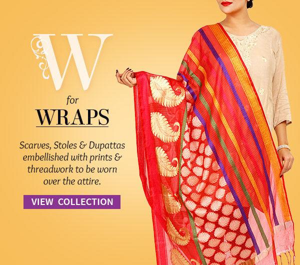 Array of Wraps: Stoles, Scarves, Dupattas, Shawls & more. Shop!