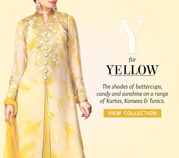 The Yellow Collection of Sarees, Salwar Kameez, Fusion wear & more. Shop!