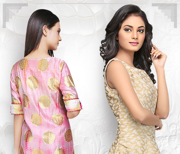 Block Printed Skirts, Banarasi Dresses, Brocade Jackets & more in our Fusion array. Shop!