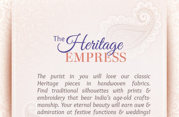 Banarasi, Dharmavaram, Tussar, Gota patti, Zari woven Suits n more in our Heritage array. Shop!