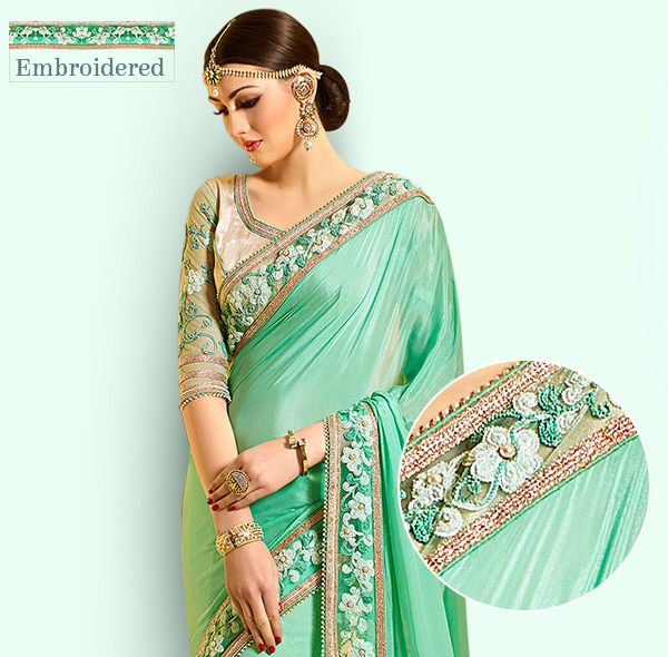 Enchanting Sarees with Embroidered Borders in Resham, Zari, Stone Work & more. Shop!