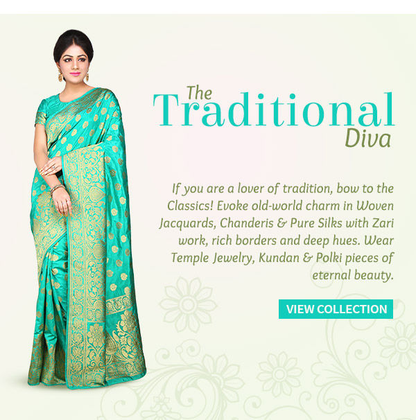 Woven Jacquards, Chanderis & Pure Silks for Traditional Women. Shop!