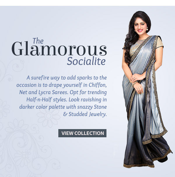 Chiffon, Net & Lycra Sarees, Half-n-Half Drapes for Glamorous Ladies. Shop!