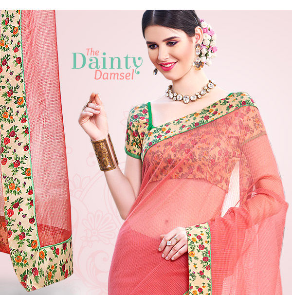 Floral Print Collection in Georgette & Silk Sarees for Dainty Damsels. Shop!