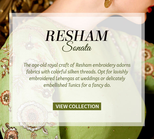 Sarees, Anarkalis, A-line Lehengas, Kurtas, Tunics & more with Resham Work. Shop!