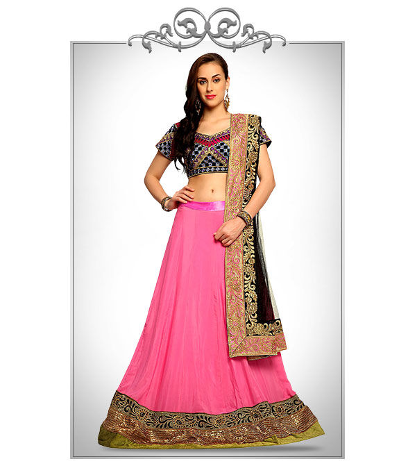Partywear Lehengas in Crepe with Patch Borders & more. Shop!
