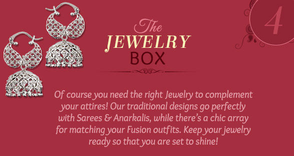 Must-have jewelry box of Jhumkas, Pearl sets, Kundan & Polki designs. Shop!