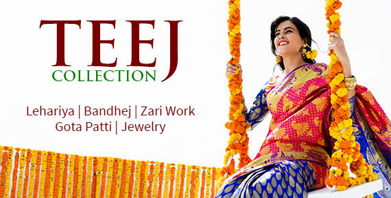 Teej Collection: Embroidered Ensembles, Bandhej, Lehariya, Gota Patti & Jewelry. Shop!
