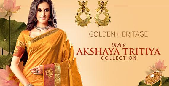Akshay Tritiya Closet of Kanchipuram & Banarasi Sarees, Golden-hued Attires & Jewelry. Shop!